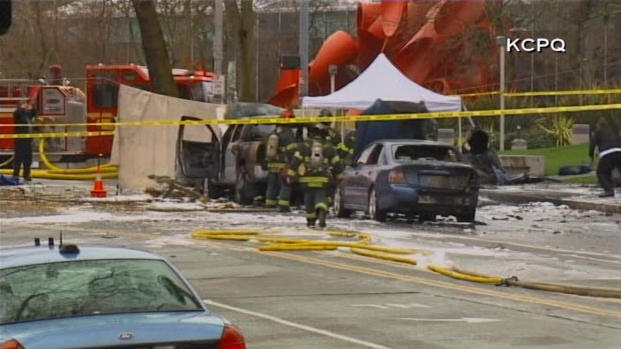 A KOMO-TV news helicopter crashed just after liftoff from the Seattle stations roof and erupted in flames on Tuesday, March 18, 2014. Two people were killed and another critically injured, according to the Seattle Fire Department. <span class=meta>(KCPQ-TV)</span>