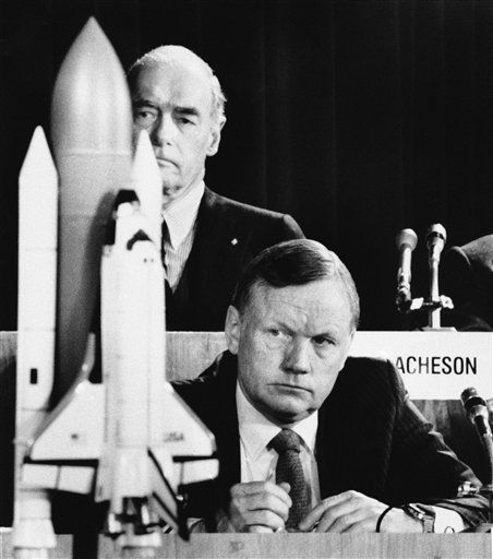 FILE - In this Feb. 11, 1986 file photo, former astronaut Neil Armstrong, a member of the presidential panel investigating the Space Shuttle Challenger explosion, listens to testimony before the commission in Washington,  David Acheson, a commission member, listens in the background. A model of the shuttle sits on the table. The family of Neil Armstrong, the first man to walk on the moon, says he has died at age 82. A statement from the family says he died following complications resulting from cardiovascular procedures. It doesn&#39;t say where he died. Armstrong commanded the Apollo 11 spacecraft that landed on the moon July 20, 1969. He radioed back to Earth the historic news of &#34;one giant leap for mankind.&#34; Armstrong and fellow astronaut Edwin &#34;Buzz&#34; Aldrin spent nearly three hours walking on the moon, collecting samples, conducting experiments and taking photographs. In all, 12 Americans walked on the moon from 1969 to 1972.   <span class=meta>(AP Photo&#47; Scott Stewart)</span>