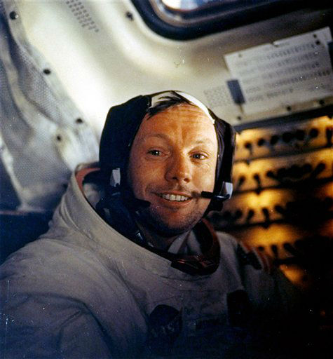 This July 20, 1969 file photo provided by NASA shows Neil Armstrong.  The family of Neil Armstrong, the first man to walk on the moon, says he has died at age 82. A statement from the family says he died following complications resulting from cardiovascular procedures. It doesn&#39;t say where he died. Armstrong commanded the Apollo 11 spacecraft that landed on the moon July 20, 1969. He radioed back to Earth the historic news of &#34;one giant leap for mankind.&#34; Armstrong and fellow astronaut Edwin &#34;Buzz&#34; Aldrin spent nearly three hours walking on the moon, collecting samples, conducting experiments and taking photographs. In all, 12 Americans walked on the moon from 1969 to 1972.   <span class=meta>(AP Photo&#47; NASA)</span>