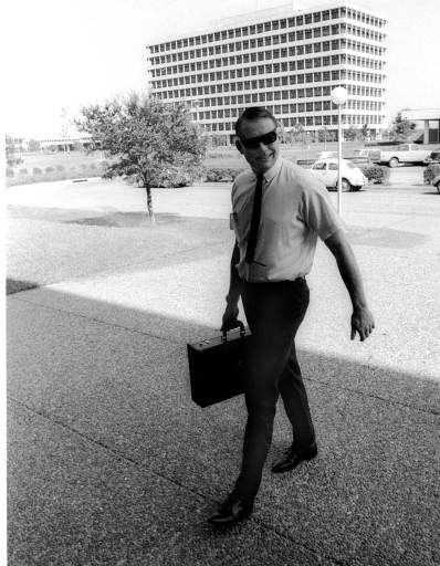 The first man to set foot on the moon, Apollo 11 commander Neil A. Armstrong, hurries up the walk to his office at Manned Spacecraft Center, Houston, Texas, Aug. 11, 1969.  The astronauts were beginning their first day of normal life after ending their quarantine period the night before.   <span class=meta>(AP Photo&#47; XSS HMB)</span>