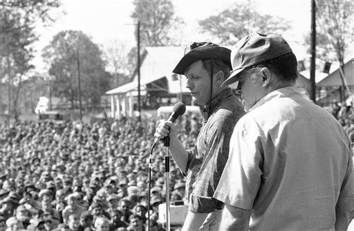 Bob Hope and Apollo 11 astronaut, Neil Armstrong, go through a routine during a performance of the Bob Hope Show for 1st Infantry Division GI?s at Lai Khe, 30 miles north of Saigon on Dec. 22, 1969. The astronaut the first man to walk on the man is accompanying Hope on this year?s Christmas tour.   <span class=meta>(AP Photo&#47; Faas)</span>