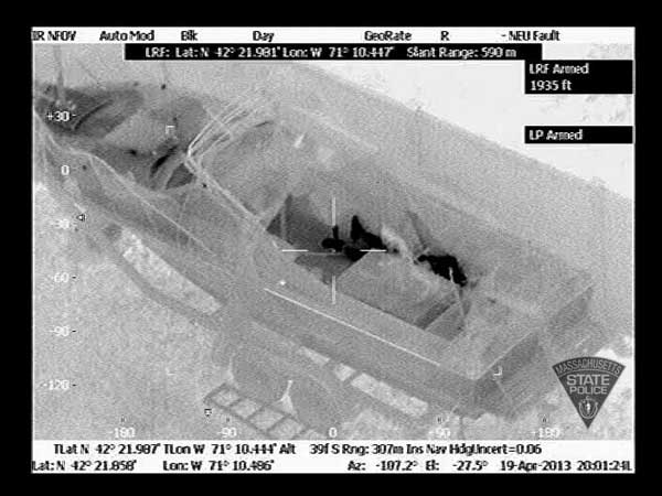 Massachusetts State Police released this thermal imaging photo of the boat in Watertown, Mass., where Boston Marathon bombing suspect Dzhokhar Tsarnaev was taken into custody on Friday,