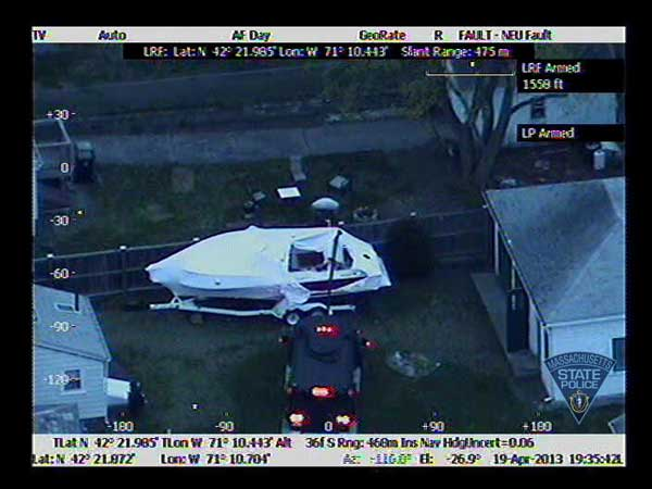 Massachusetts State Police released this thermal imaging photo of the boat in Watertown, Mass., where Boston Marathon bombing suspect Dzhokhar Tsarnaev was taken into custody on Friday, April 19, 2013.