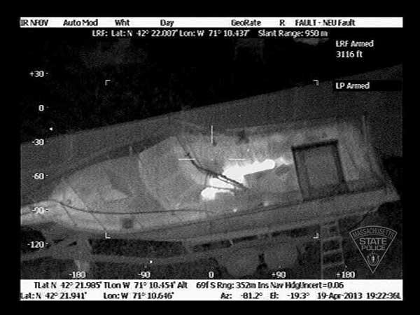 Massachusetts State Police released this thermal imaging photo of the boat in Watertown, Mass., where Boston Marathon bombing suspect Dzhokhar Tsarnaev was taken into custody on Friday, April 19, 2013. <span class=meta>(KABC)</span>