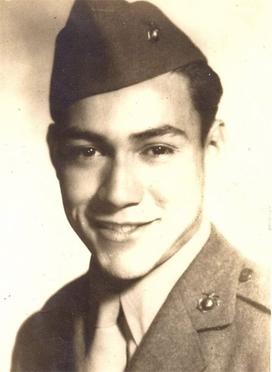 ABC7 viewer MaryChristine Pena sent in this photo of her father, Eddie M. Pena, who served as a Marine during World War II, in honor of Veterans Day. Pay tribute to the men and women who fight for our country! Post a photo of a veteran you want to honor on our ABC7 Facebook page. You can also send us your photos on Twitter or Instagram with #abc7salutes. <span class=meta>(ABC7 viewer MaryChristine Pena)</span>