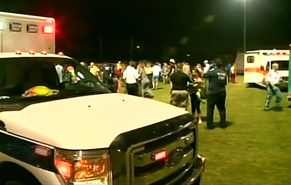 A massive explosion at a fertilizer plant in West, Texas, injured numerous people on Wednesday, April 17, 2013. Authorities set up a staging area on the local high school's football field.