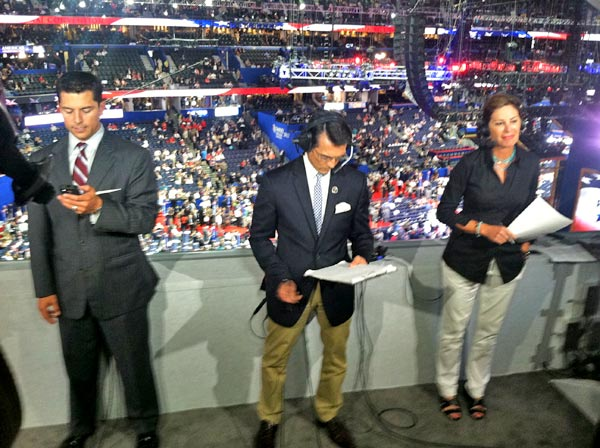 "<div class=""meta ""><span class=""caption-text "">ABC7 Eyewitness News Anchor David Ono (center) prepares for a live report, along with other reporters from ABC affiliates, from the Republican National Convention in Tampa, Fla., on Tuesday, Aug. 28, 2012.</span></div>"