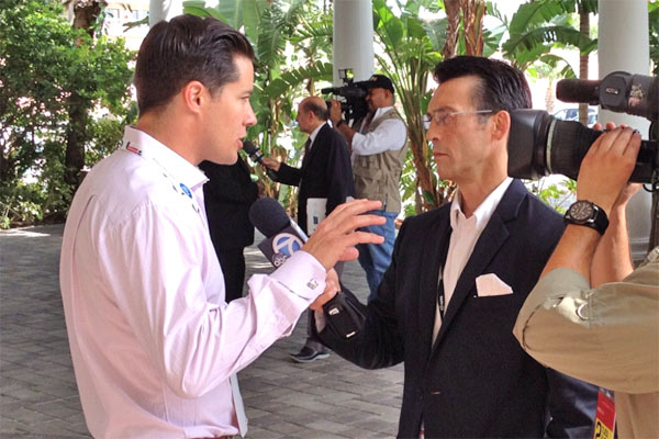 ABC7 Eyewitness News Anchor David Ono interviews California delegate and former 'Bachelor' Andrew Firestone at the Republican National Convention in Tampa, Fla., on Tuesday, Aug. 28, 2012.