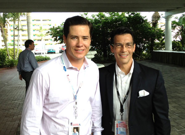 ABC7 Eyewitness News Anchor David Ono (right) poses for a picture with California delegate and former 'Bachelor' Andrew Firestone at the Republican National Convention in Tampa, Fla., on Tuesday, Aug. 28, 2012.
