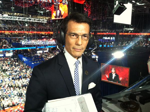 ABC7 Eyewitness News Anchor David Ono inside the Republican National Convention in Tampa, Fla., on Tuesday, Aug. 28, 2012.