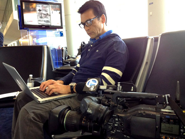 David Ono of ABC7 Eyewitness News on his way to the Republican National Convention in Tampa, Fla., on Sunday, Aug. 26, 2012.