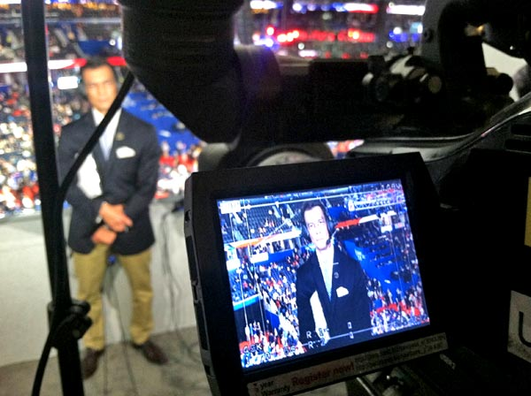 ABC7 Eyewitness News Anchor David Ono appears on camera during a live report from the Republican National Convention in Tampa, Fla., on Tuesday, Aug. 28, 2012.