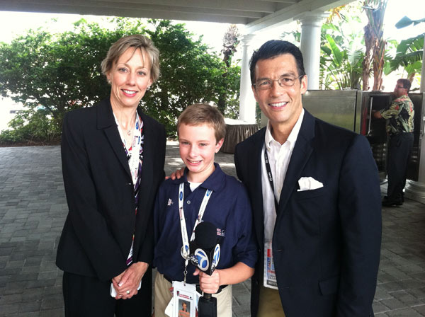 ABC7 Eyewitness News Anchor David Ono poses for a picture with a member of the youth delegation from Yorba Linda, Calif., at the Republican National Convention in Tampa, Fla., on Tuesday, Aug. 28, 2012.