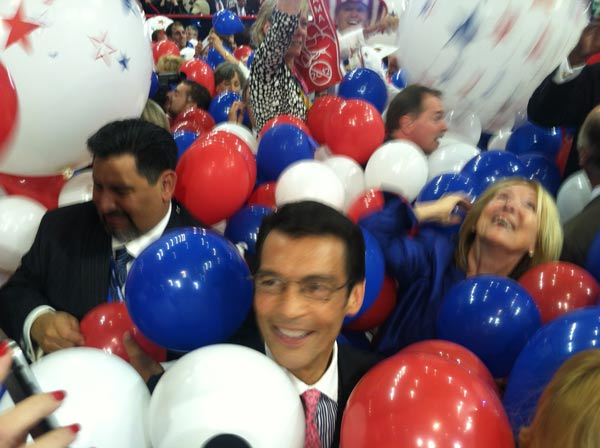 ABC7 Eyewitness News Anchor David Ono inside the Republican National Convention in Tampa, Fla., on Thursday, Aug. 30, 2012.