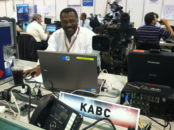 ABC7 Eyewitness News Anchor Marc Brown is seen at his work station at the North Carolina Convention Center in Charlotte,