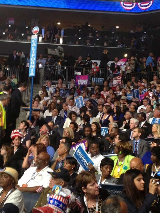 California delegates await a speech from former President Bill Clinton at the Democratic National Convention in Charlotte, N.C., on Wednesday, Sept. 5, 2012.