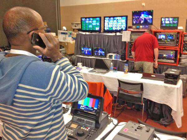 ABC7&#39;s Carlos Granda shared this photo of KABC photographer E. Don Smith behind the scenes at ABC News in Boston, Mass. on Tuesday, Nov. 6, 2012.    <span class=meta>(KABC Photo)</span>