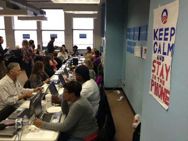 Keep Calm...and Stay on the Phone! ABC7 Reporter Elex Michaelson posted this picture on Facebook of the Barack Obama phone bank near his headquarters in Chicago, Ill., on Nov. 5, 2012. <span class=meta>(KABC Photo)</span>