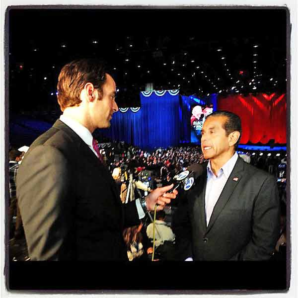 ABC7 reporter Elex Michaleson caught up with Los Angeles Mayor Antonio Villaraigosa at President Barack Obama&#39;s election headquarters in Chicago, Ill., on Tuesday, Nov. 6, 2012. Villaraigosa said he felt &#34;good&#34; about the president&#39;s re-election after it was announced Mr. Obama won the swing state of Pennsylvania. <span class=meta>(KABC Photo)</span>