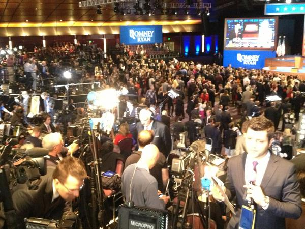 ABC7 reporter Carlos Granda Tweeted this photo from Mitt Romney&#39;s election headquarters in Boston on Tuesday, Nov. 6, 2012. Granda said the mood was subdued after seeing the close preliminary numbers from swing states Ohio and Florida. <span class=meta>(KABC Photo)</span>