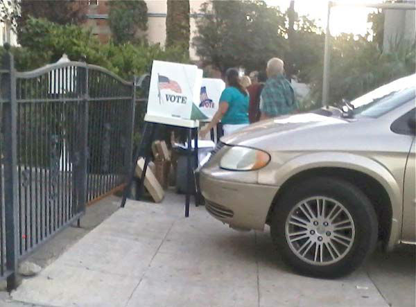 Melissa Quiroz sent us this picture of a polling place in Los Angeles on Tuesday, Nov. 6, 2012.&nbsp;<em>Share your Election 2012 photo on our <a href=
