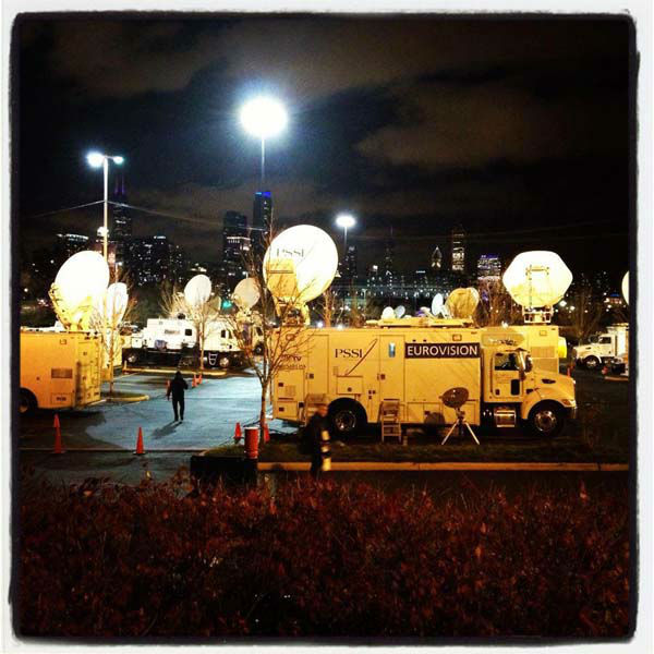 ABC7&#39;s Elex Michaelson shared this photo outside President Barack Obama&#39;s Election Headquarters in Chicago, IL on Monday, Nov. 5, 2012.    <span class=meta>(KABC Photo)</span>