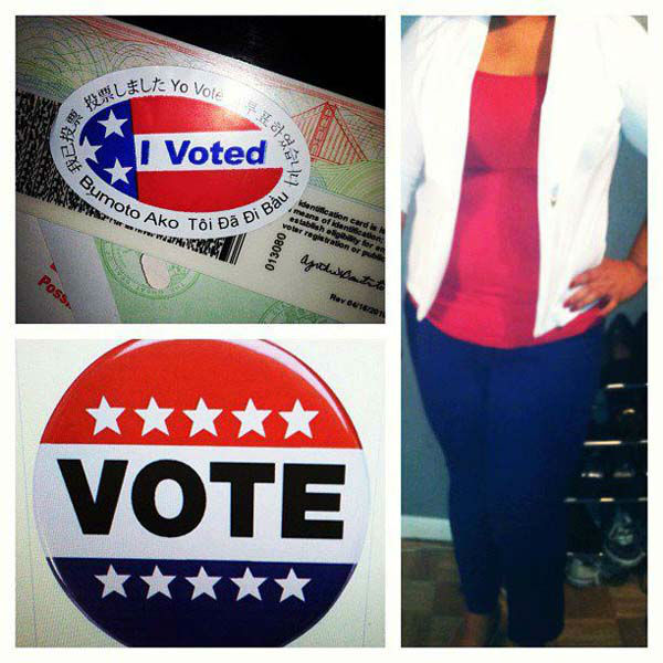 Thee Cyn Cyn from Carson voted. She sent us this photo on Tuesday, Nov. 6, 2012.&#160;Share your Election 2012 photo on our ABC7 Facebook page. <span class=meta>(KABC Photo)</span>