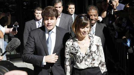 Former Illinois Gov. Rod Blagojevich and his wife Patti leave the Federal Court building, Thursday, Aug. 12, 2010, in Chicago.