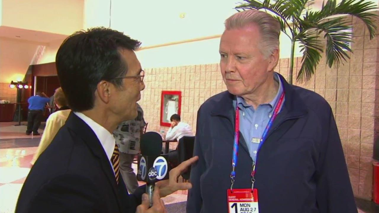 ABC7 Eyewitness News Anchor David Ono interviews actor Jon Voight at the Republican National Convention in Tampa, Fla., on Monday, Aug. 27, 2012.