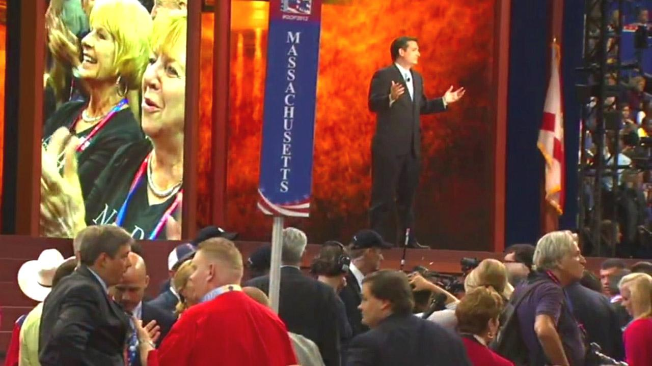 Senate candidate Ted Cruz of Texas speaks to a partly distracted audience at the Republican National Convention in Tampa, Fla., on Tuesday, Aug. 28, 2012.