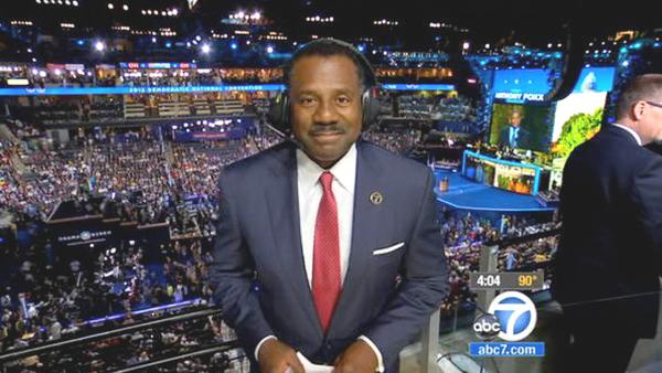 ABC7 Eyewitness News Anchor Marc Brown is seen reporting from Charlotte, N.C., for the Democratic National Convention on Tuesday, Sept.