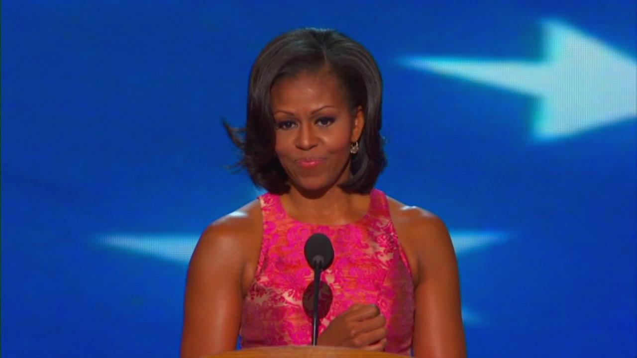 First lady Michelle Obama speaks at the Democratic National Convention in Charlotte, N.C. on Tuesday, Sept. 4, 2012.