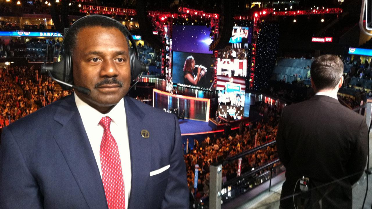 ABC7 Eyewitness News Anchor Marc Brown is seen reporting from Charlotte, N.C., for the Democratic National Convention on Tuesday, Sept. 4, 2012.
