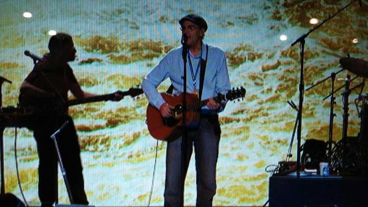 James Taylor does a sound check at the Democratic National Convention in Charlotte, N.C., on Thursday, Sept. 6, 2012.