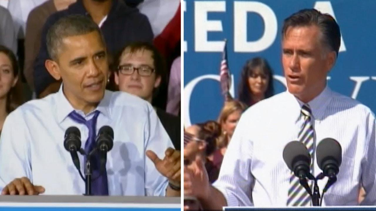 President Barack Obama (left) and Republican challenger Mitt Romney campaign  in key states on Wednesday, Oct. 17, 2012.