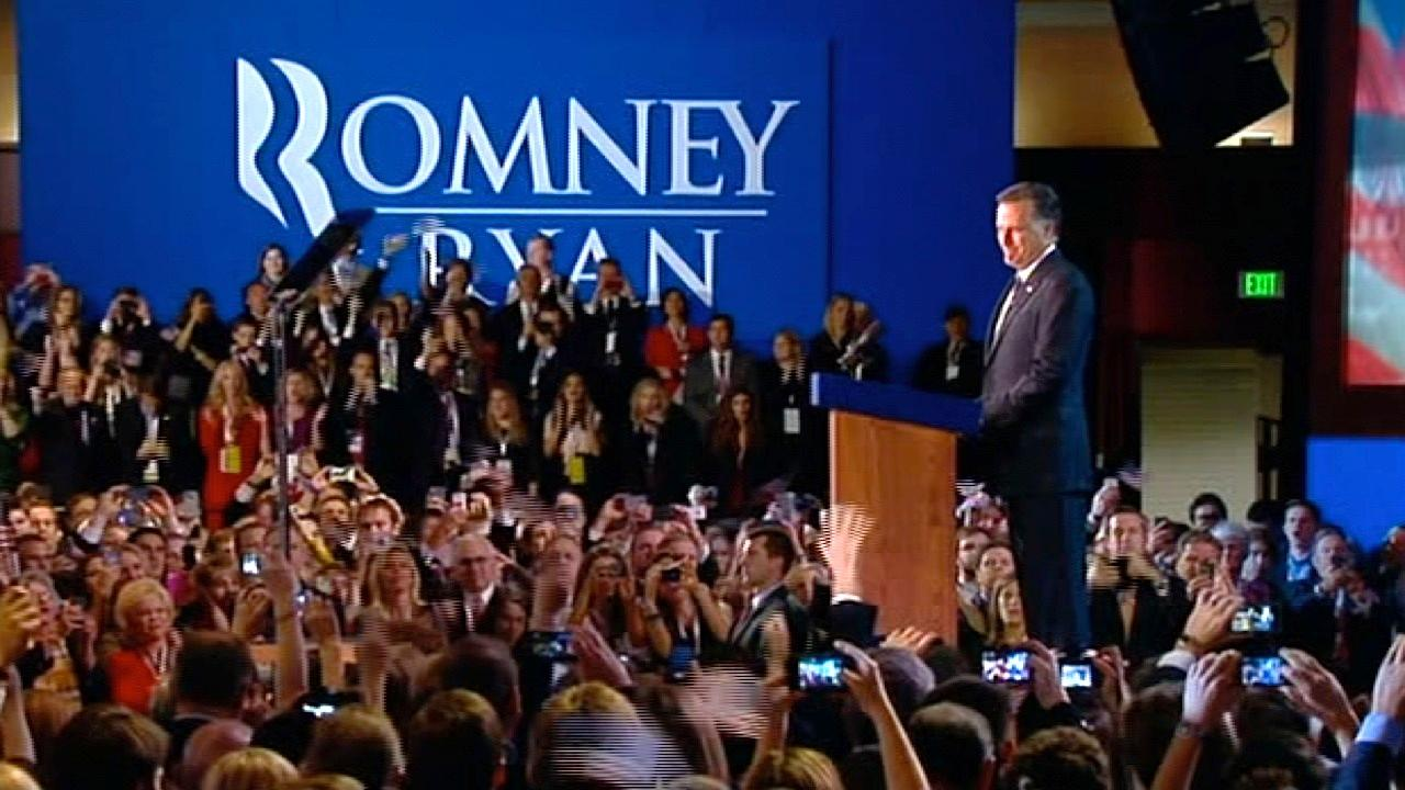 A side view shows Republican presidential candidate Mitt Romney giving his concession speech to supporters at his election headquarters in Boston on Wednesday, Nov. 7, 2012.
