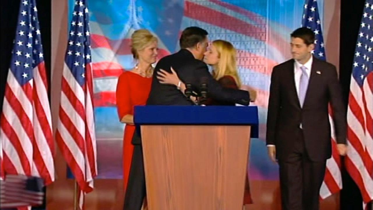 Republican presidential candidate Mitt Romney hugs runningmate Paul Ryans wife, Janna, following Romneys concession speech at his election headquarters in Boston on Wednesday, Nov. 7, 2012.