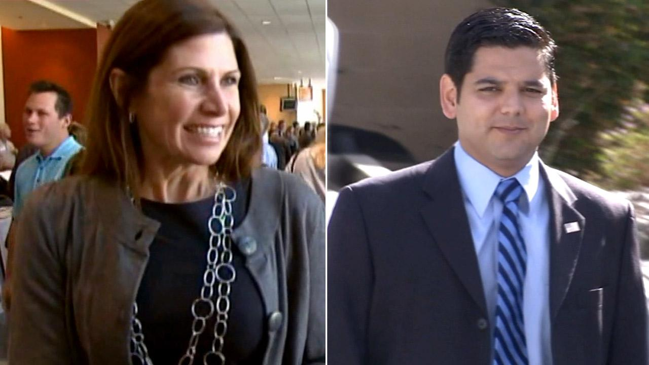 File photo of Republican Rep. Mary Bono Mack (left) and Democrat Raul Ruiz.