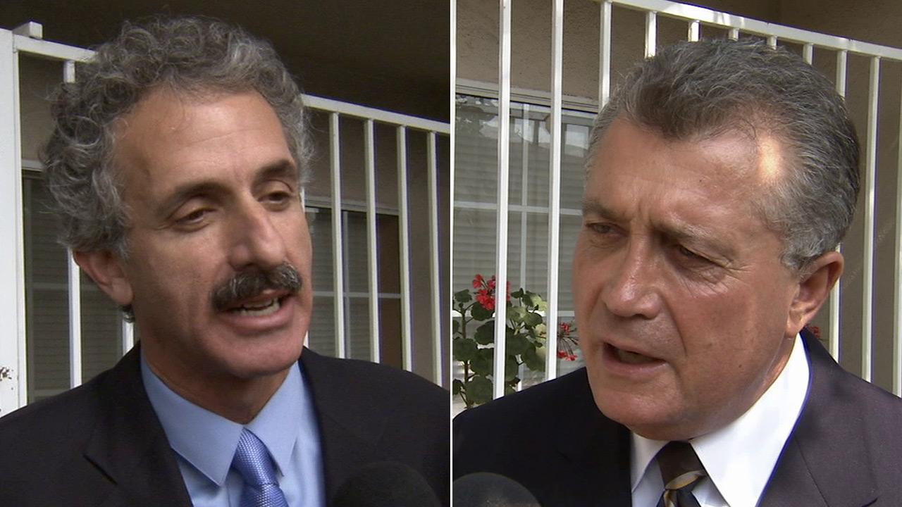 Former Assemblyman Mike Feuer, left, and Los Angeles City Attorney Carmen Trutanich, right, talk to Eyewitness News outside a radio station in Inglewood on Thursday, May 16, 2013.