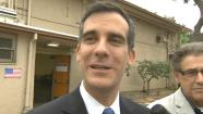 Los Angeles mayoral candidate Eric Garcetti in an interview with Eyewitness News on Election Day, Tuesday, May 21, 2013.