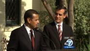 Mayor-elect Eric Garcetti meets with outgoing Mayor Antonio Villaraigosa at the Getty House in Los Angeles on Thursday, May 23, 2013.