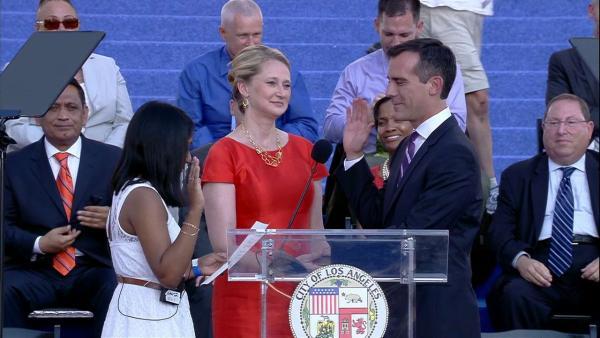New Mayor Eric Garcetti Sworn In