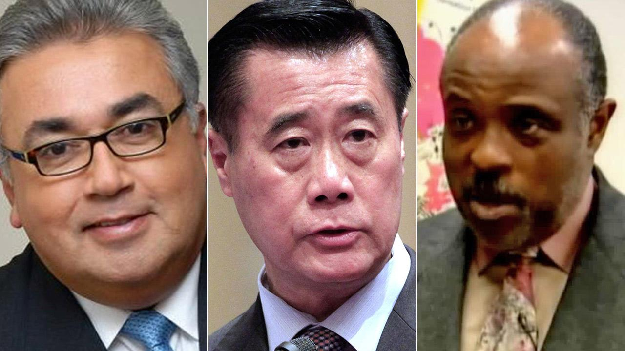 California Democratic Sens. Ron Calderon, Leland Yee and Rod Wright are seen.