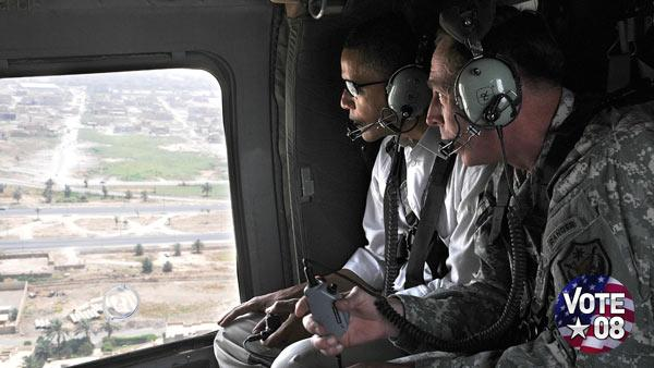 Barack Obama and David Petraeus in Iraq