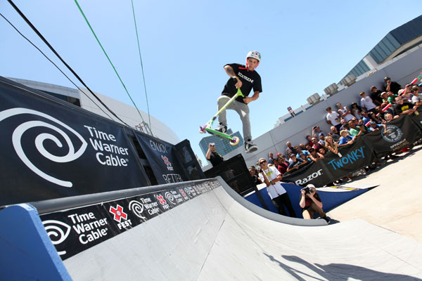 "<div class=""meta ""><span class=""caption-text "">In this image provided by Time Warner Cable, the Razor competition is seen in the Time Warner Cable Interactive Park Community at X Fest for the 2012 X Games on Saturday, June 30, 2012 in Los Angeles.  (Photo by Casey Rodgers/Invision for TWC)</span></div>"