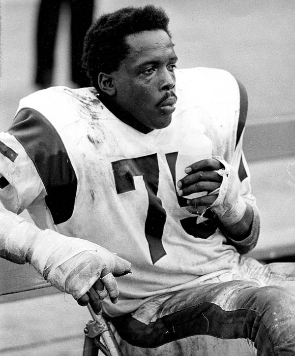 In this Nov. 3, 1968 photo provided by NFL Photos, Hall of Fame defensive end David &#39;Deacon&#39; Jones &#40;75&#41; of the Los Angeles Rams sits during the Rams 10-7 victory over the Detroit Lions in Los Angeles.   Jones, the original sackmaster, has died. The Hall of Fame defensive end credited with terming the word sack for how he knocked down quarterbacks, was 74. The Washington Redskins said that Jones died of natural causes at his home in Southern California on Monday night, June 3, 2013. <span class=meta>(NFL Photos)</span>