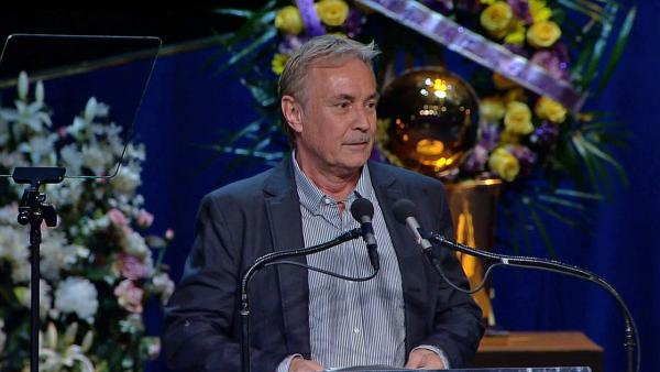 Johnny Buss, the eldest of Buss' children, shared his memories of his father, Dr. Jerry Buss, at a memorial service at Nokia Theatre in downtown Los Angeles on Thursday, Feb. 21, 2013.