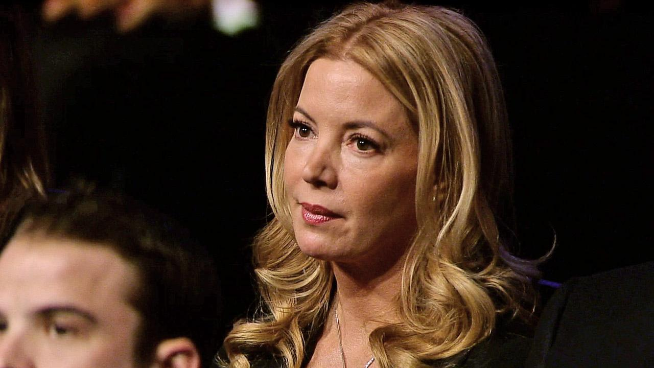 Jeanie Buss is seen in the crowd at the memorial service for her father, Dr. Jerry Buss, at Nokia Theatre in downtown Los Angeles on Thursday, Feb. 21, 2013.