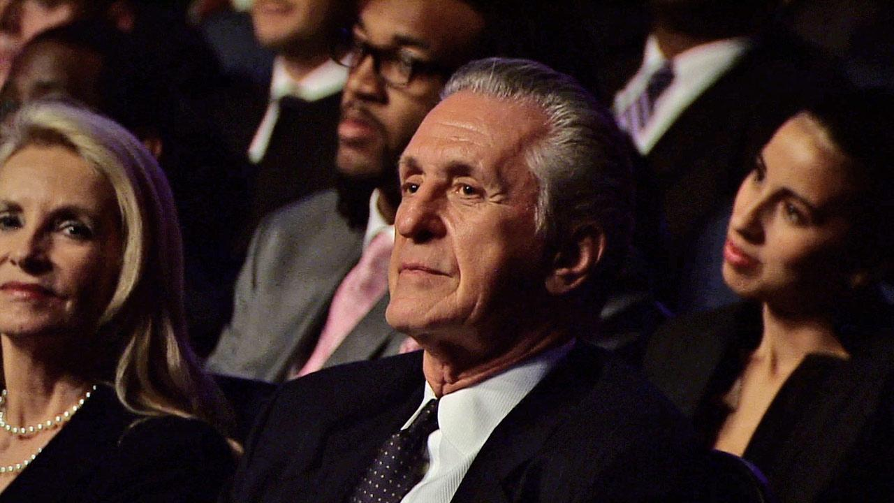 Former Lakers head coach Pat Riley is seen at a memorial service for Dr. Jerry Buss at Nokia Theatre in downtown Los Angeles on Thursday, Feb. 21, 2013.