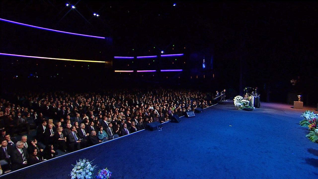 Friends and family gather at a memorial service for Dr. Jerry Buss at Nokia Theatre in downtown Los Angeles on Thursday, Feb. 21, 2013.